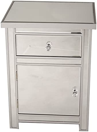 25.25 x 20 Heather Ann Creations Petite Accent Cabinet with Beveled Trim and Mirror Finish Silver 25.25 x 20 W192095-SILVR