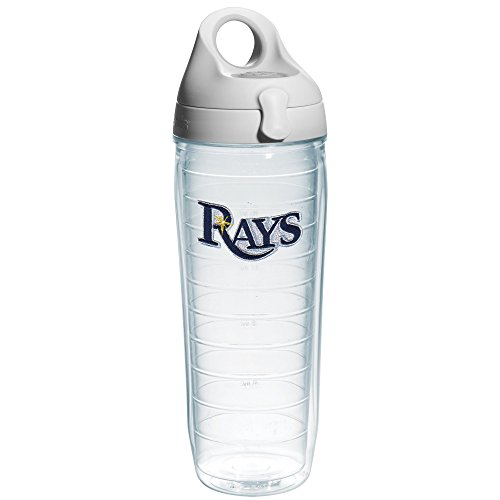"Tervis 1066697 ""MLB Tampa Bay Rays Text"" Water Bottle with Grey Lid, Emblem, 24 oz, Clear"