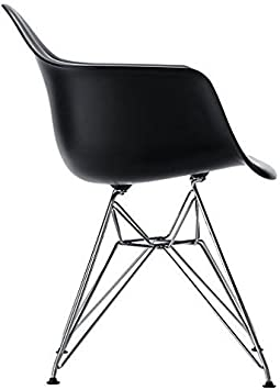 Black 2 Set of Two Eames Style Arm Chair with Chromed Steel Legs Eiffel Dining Room Chair Eiffel Legged Base Molded Plastic Seat Shell Top-Paris Tower Armchair Chrome Leg-Paris Tower Arm Dinin Lounge Chair with Arm Arms Chairs Seats Metal Dowel Leg