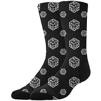 36ec8c915a144f Jinkela Womens Thigh High Cotton Socks D20 dice Black Tube Stockings Above  Knee Cosplay Socks