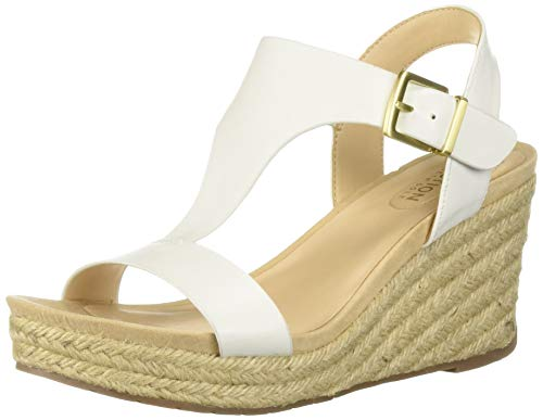 (Kenneth Cole REACTION Women's Card Wedge T-Strap Espadrille Sandal, White 8 M US)