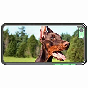 iPhone 5C Black Hardshell Case doberman dog tongue Desin Images Protector Back Cover