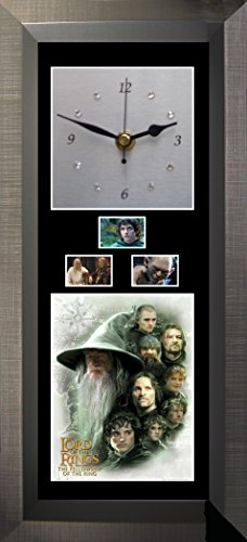 FCD Lord of The Rings - Fellowship of The Rings - Silent Sweep Wall Clock with Swarovski Crystals. (Lord Of The Rings Mini Film Cell)