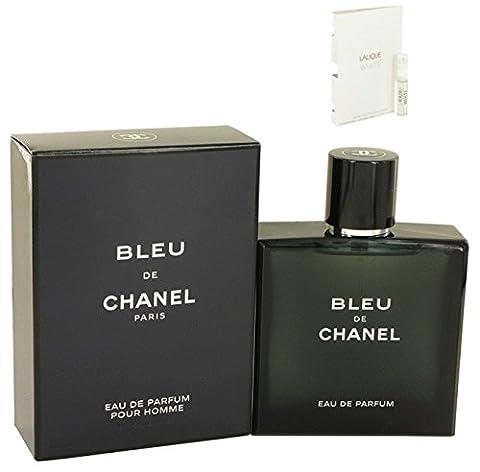Bleu De Chánel Cologne For Men Eau De Parfum Spray 3.4 oz. 100 ml. + Free! Sample Perfume Lalique White 0.06 oz - Chanel Green