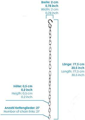 PRETEX Cadena de extensi/ón de acero al carbono galvanizado con una capacidad de carga de hasta 200 kg largo 76 cm