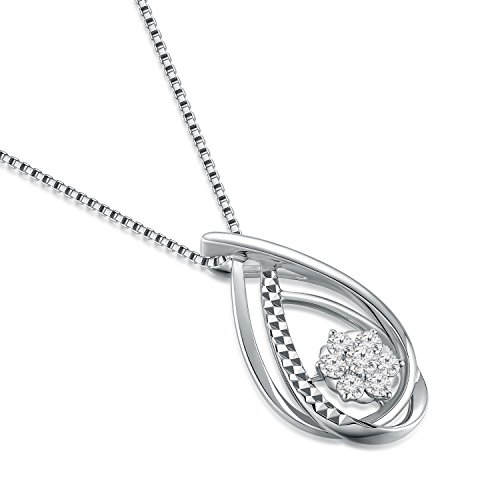 Or blanc 18ct 750avec diamant en forme de larme Pendentif fleur en argent sterling 925Chaîne de 40,6cm/40cm (0,26CT, G-H Couleur, Vs1-si2Clarté) Femme Bijoux Cadeau Saint Valentin