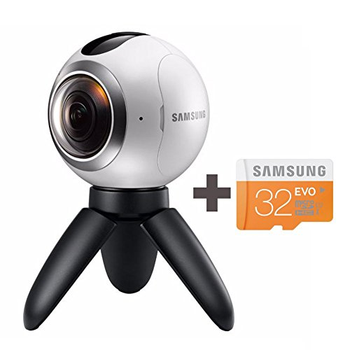 Samsung Gear 360 Degree Spherical Camera (SM-C200) + Micro SD 32GB Spherical Camera SM-C200 for Galaxy S7, S7 Edge, S6, S6 Edge, S6 Edge Plus, Note 5 (International Version - No Warranty)