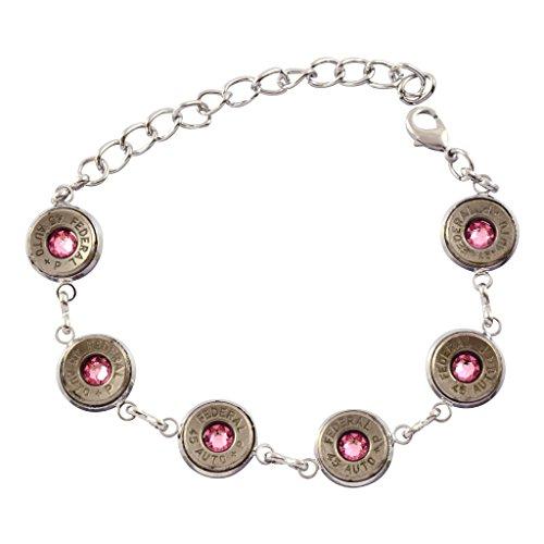 (45 Caliber Bullet Link Bracelet, Silvertone Bracelet with Light Pink Crystals)