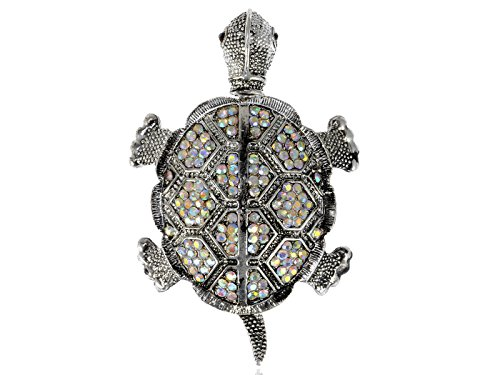 (Alilang Silvery Tone Iridescent Colored Rhinestones Turtle Tortoise Brooch Pin)
