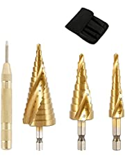 "3PCS HSS Step Drill Bit Titanium Multiple Hole Cone Cutter with Automatic Center Punch Metal Hole Cutter 1/4"" Hex Shank Drive Quick Change 4-12mm/4-20mm/4-32mm"