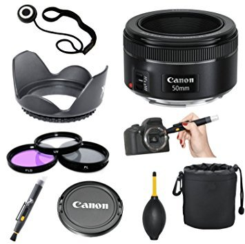 F Mount Lens - Canon EF 50mm f/1.8 STM Lens + 3pc Filter Kit + Lens Pen + Blower + Hood + Lens Pouch + Cap Keeper
