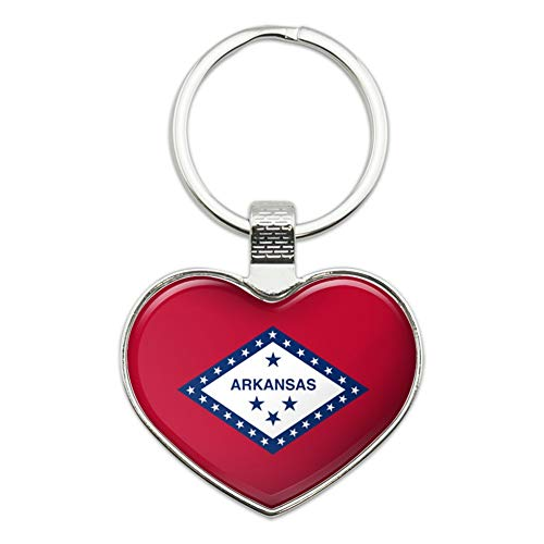 (Arkansas State Flag Heart Love Metal Keychain Key Chain Ring)