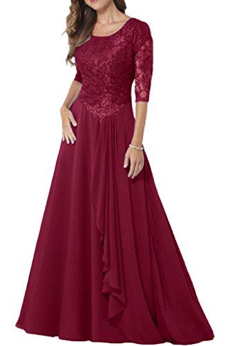Milano Chiffon Weinrot Spitze mit Damen Kleider Elegant Festkleider Aermel Brautmutter Abendkleider Bride Lang wtqp1Brw