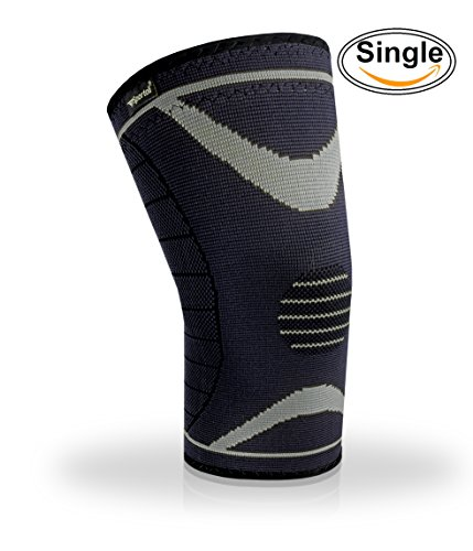 Sportoli Mens Womens Compression Knee Sleeve Braces Support for Weightlifting and Arthritis - Grey (Large)