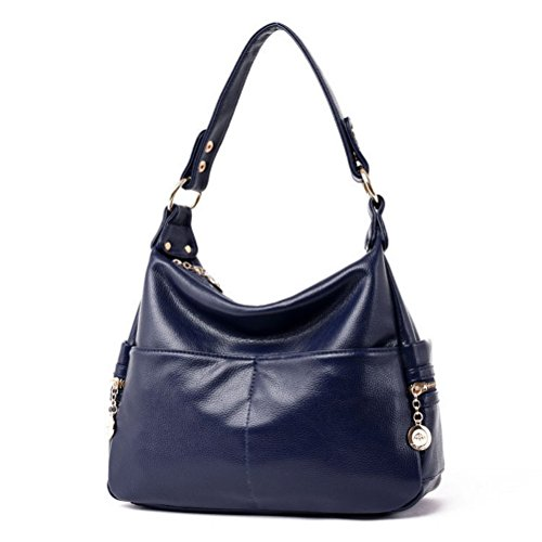 The Seventh Soft Leather Shoulder Bags Hobo Style Bag, Retro Casual Large Capacity PU Leather Tote Bag Navy Blue by The Seventh