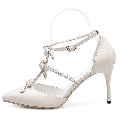 Nine Seven Cuero Puntiagudos Sandalias de Vestir de Tacón Aguja con Lazo y Hebilla para Mujer blanco