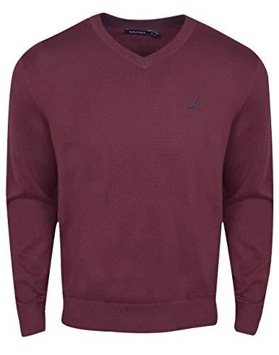 Nautica Men's Long Sleeve Solid Classic V-Neck Sweater, Royal Burgundy, ()