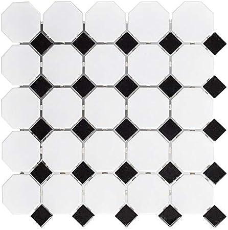 Blanco y Negro Mezclado Octagon porcelana mosaico baldosas ...