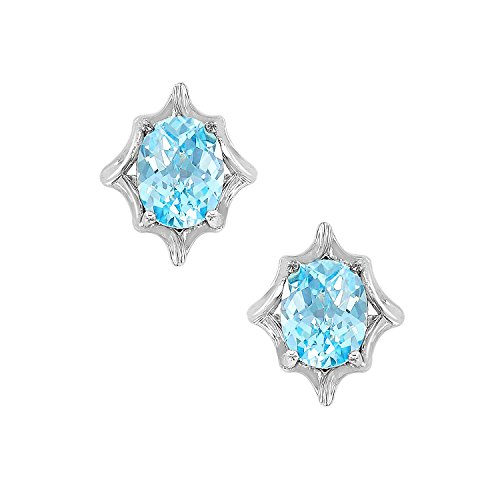 Aqua Brass Cut Collection - Nicole Miller Oval Checkerboard Cut Stud Earrings- Rhodium Plated Brass, Ceated Blue Aquamarine