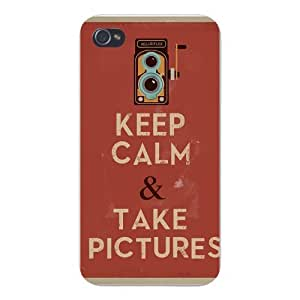 Apple Iphone Custom Case 6 plus 5.5 White Plastic Snap on - Keep Calm and Take Pictures w/ Old Vintage Crank Camera