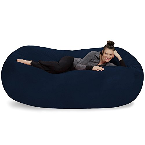 Sofa Sack - Plush Bean Bag Sofas with Super Soft Microsuede Cover - XL Memory Foam Stuffed Lounger Chairs for Kids, Adults, Couples - Jumbo Bean Bag Chair Furniture - Navy 7.5