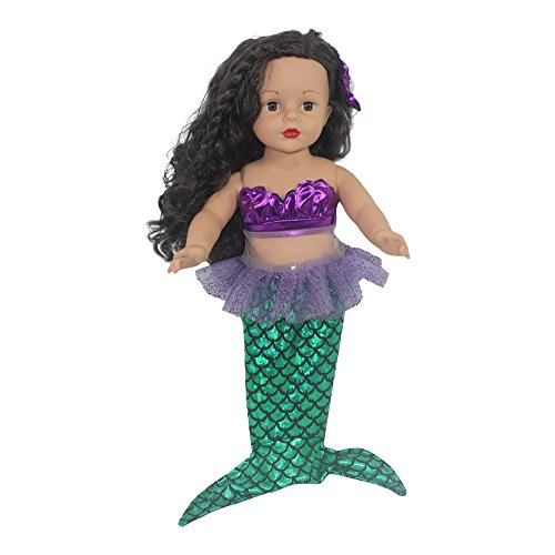 "Ari and Friends | Mermaid Costume | Purple Shell Bikini Top | Metallic Green Fins | Floral Hair Clip | Fits American Girl 18 Inch Doll & Other 18"" Dolls -"