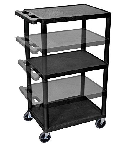 Luxor LPDUOE-B Multipurpose 3 Shelves A/V Utility Cart with Electric - Black by Luxor