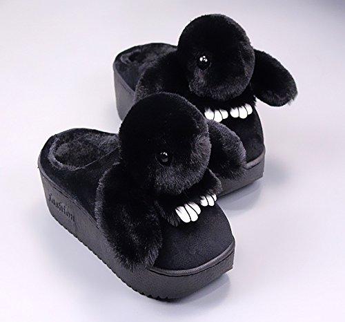 Fankou Coton Pantoufles Femmes Anti-dérapant Chaud Épais Maison Hiver Belles Chaussures Chaussures De Bande Dessinée, 39-40, Rose Clair
