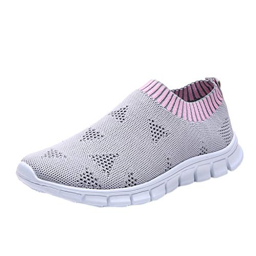WENSY Weaving Single Shoes Casual Women's Outdoor Woven Mesh Lace-Up Sneakers Running Breathable Soft Bottom Sandals(Gray,37)]()
