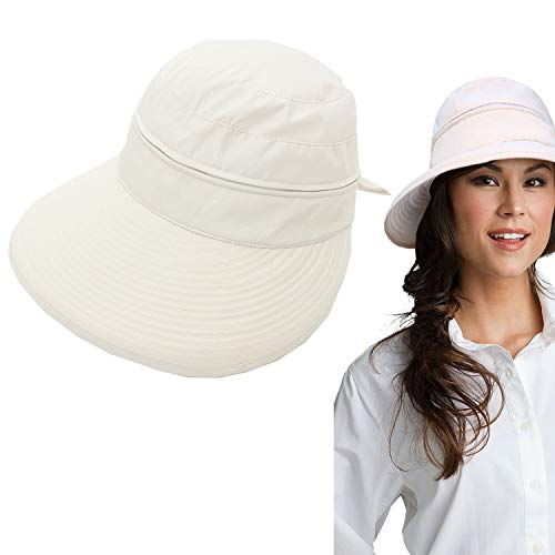 b1ce7eb7 DRESHOW Sun Visor Hat Cap Large Brim Beach UV Protection UPF 50+ Hat for  Women