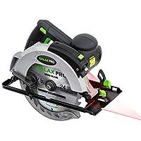 GALAX PRO Sierra Circular, 1400W 5500RPM Sierra Eléctrica, Corte 62mm (90°), 42mm (45°), Hoja 185mm,Guía Laser,Guía de Metal, Motor…