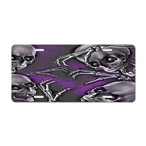 GRAETfpeoglsd Skull Scary Creepy Spooky Happy Smiling Skeleton Boned Hand Art Print Purple Grey Black Customized License Plate Cover Aluminum Metal Car Licenses Plate Frame Holder for US Vehicles ()