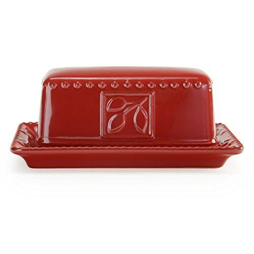(Signature Housewares Sorrento Collection Butter Dish, Ruby)