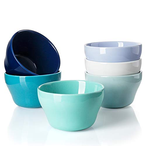 Sweese 107.003 Porcelain Bouillon Cups - 8 Ounce Dessert Bowls - Set of 6, Cool Assorted Colors ()