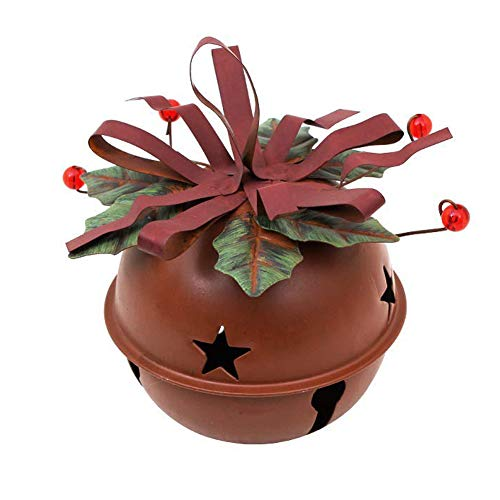 Rusty Star Ornament - Large Rusty Red Jingle Bells with Star Cutout, 4.5''x5.5'' Hanging Christmas Bell Ornament Festival Decoration (Rusty Red-B)
