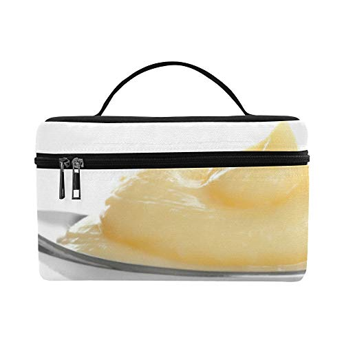 Fragrant Pudding Food Large Capacity Size Lady Cosmetic Bag Makeup Organizer Lunch Box Train Toiletry Case For Girls Teen Women Travel With Zipper And Single Layer