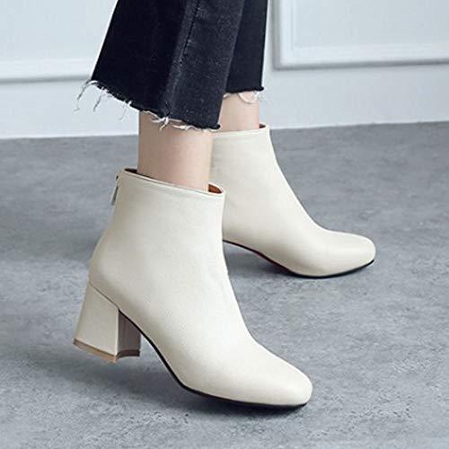 Block White Boots JOJONUNU Heel Ankle Zip Women 6BnqHg