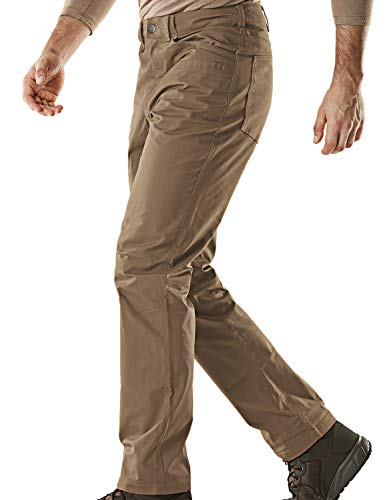 CQR Men's Flex Stretch Tactical Work Outdoor Operator Rip-Stop Trouser Pants EDC, Flexy Straight(tfp500) - Coyote, 42W/30L