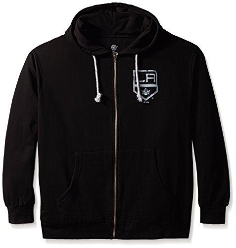 NHL Los Angeles Kings Women's Full Zip Fleece Logo Distressed Screen Print Hoodie, 1X, (Los Angeles Kings Team Fleece)