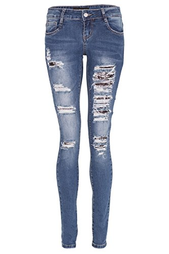 Noroze Womens Ripped Skinny Jeans Studs Sequin Lace Up Pants (Destroyed Sequin Blue ST109, 8) (Sequin Jeans Pants)