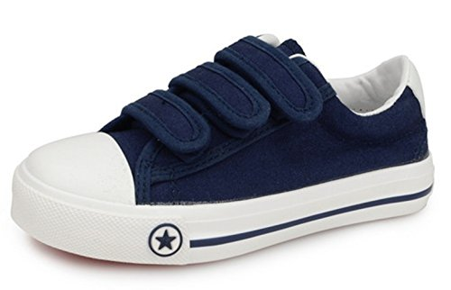 DADAWEN Boy's Girl's Casual Classic Strap Sneakers Blue 2 M