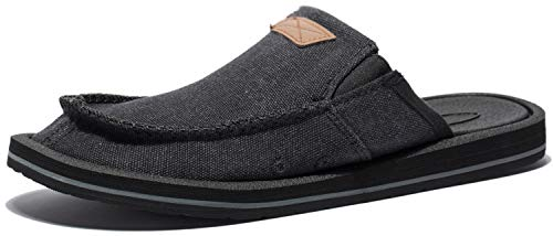 - Viihahn Men's Casual Canvas Shoes Lightweight Slippers Comfortable Slip-On Loafer Flats Black