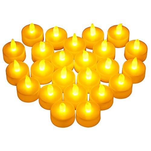 [Victsing 24 Pack LED Tea Lights - Warm Yellow Battery Operated flameless candles Realistic Unscented LED Candles - For Parties,Votives, Tealight Holders, Diwali, Halloween, Christmas] (Halloween Candles)