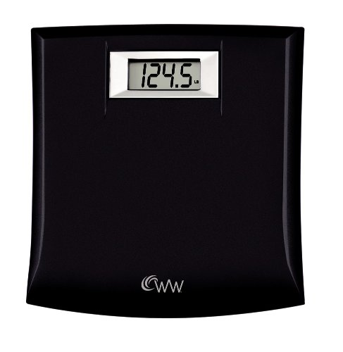 Family Scale - Weight Watchers by Conair Digital Precision Bathroom Scale; 330 lb. capacity; Durable construction, Compact Design: 10.5in. X 11.25in. Plastic Platform Bath Scale; Black