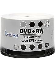 100 Pack Smartbuy Blank DVD+RW 4X 4.7GB 120Min Branded Logo Rewritable DVD Media Disc