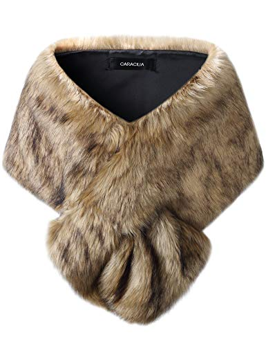 Caracilia Women's Faux Fur Shawl Wraps Stole Cloak Coat Cape for Evening Party/Bridal/Wedding huangdiheijian S CAFB3
