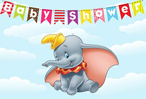ERIC 7x5ft Vinyl Elephant Baby Shower Backdrop Cartoon Cute Dumbo Photo Background Photography Backdrops for Baby Shower Cake Table Decoration Photo Booth Studio Props LF112 -