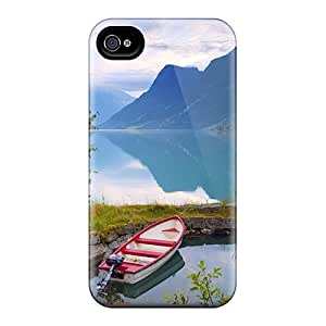 JeffMclaren Case Cover For Iphone 4/4s - Retailer Packaging Gorgeous Lake Idle Boat Protective Case