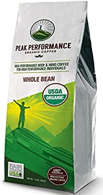 Peak Performance High Altitude Organic Coffee. No Pesticides, Fair Trade, GMO Free, Full Of Antioxidants! Whole Beans / Ground