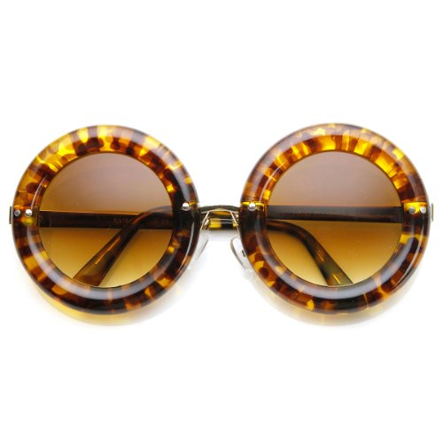 zeroUV - High Fashion Bold Rim Thick Donut Round Oversized Sunglasses - Glasses Rim Thick